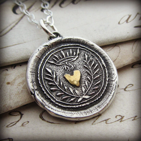 Flaming Gold Heart Wax Seal Necklace - Eternal Love - Shannon Westmeyer Jewelry - 1