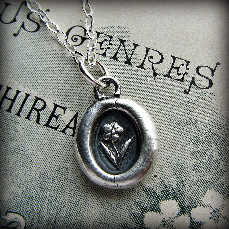Tiny Flower Wax Seal Necklace