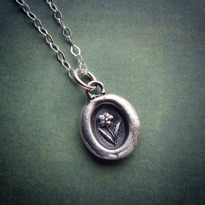 Tiny Flower Wax Seal Necklace - Shannon Westmeyer Jewelry - 2