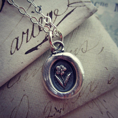 Tiny Flower Wax Seal Necklace - Shannon Westmeyer Jewelry - 3