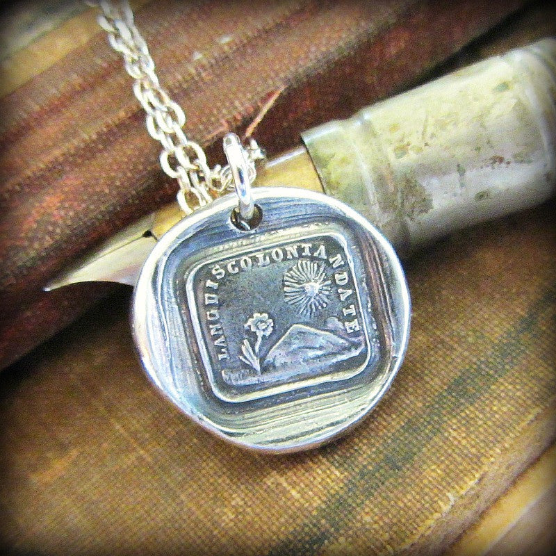 Flower and Sun Wax Seal Charm Necklace- I Am Grateful for You