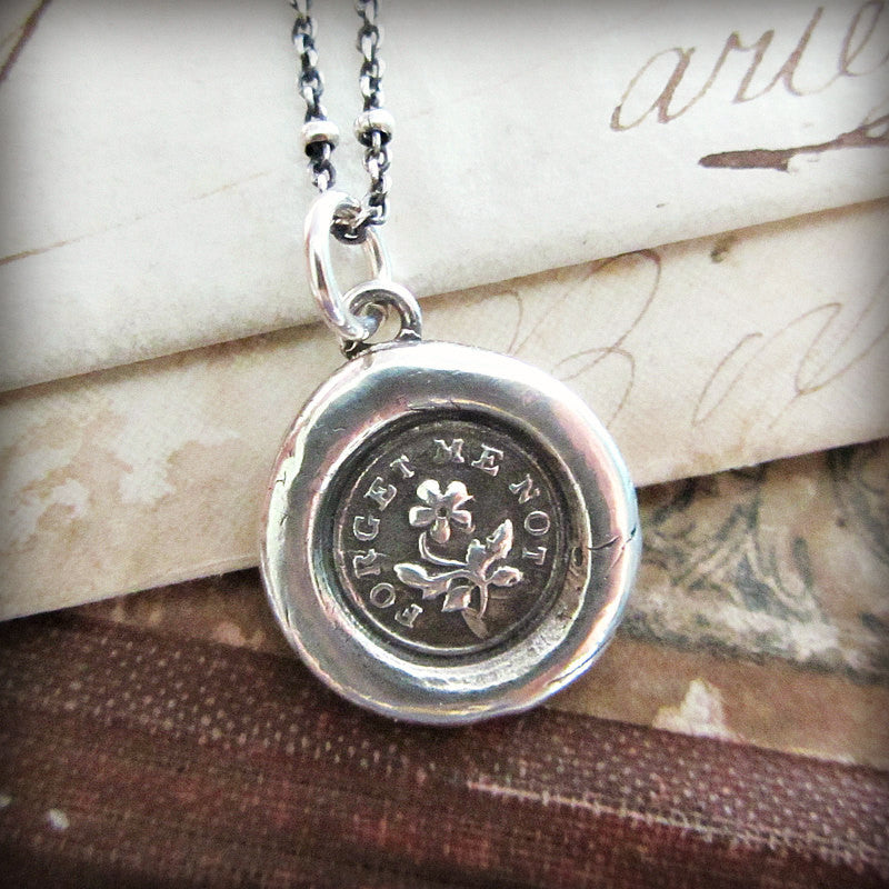 Forget Me Not flower wax seal necklace with silver chain