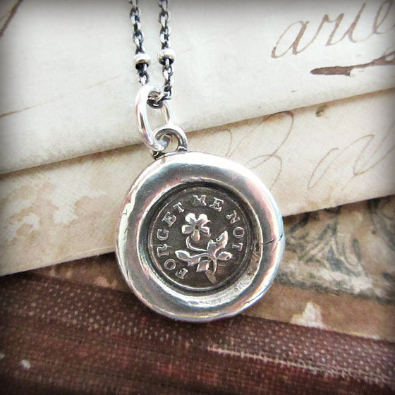 Wax seal jewelry and gifts with meaning by shannon westmeyer forget me not flower wax seal necklace with silver chain aloadofball Gallery