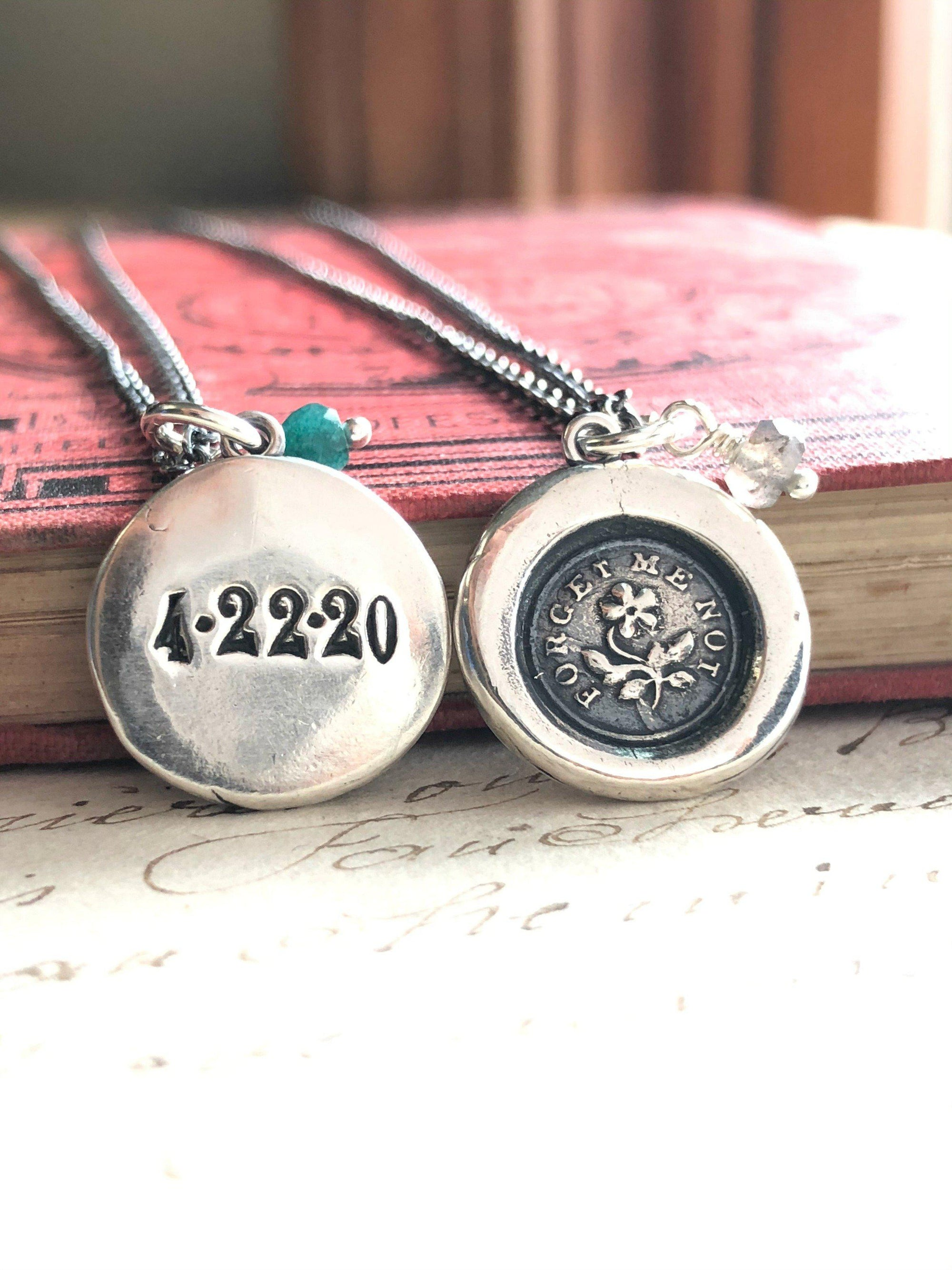 Memorial Forget Me Not Necklace - Personalized with Date and Stone Option