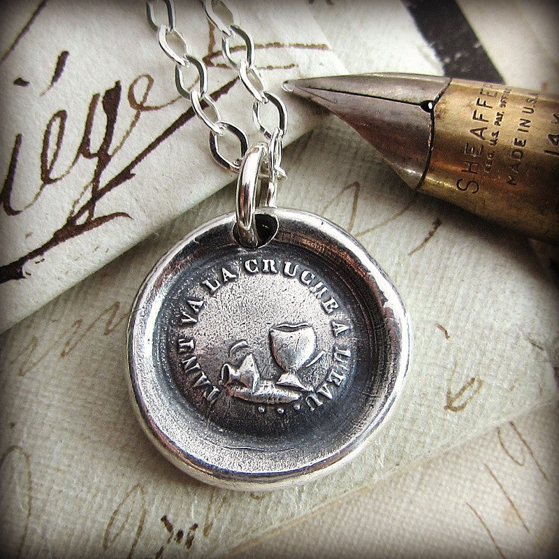 Don't Push Your Luck Wax Seal Pendant