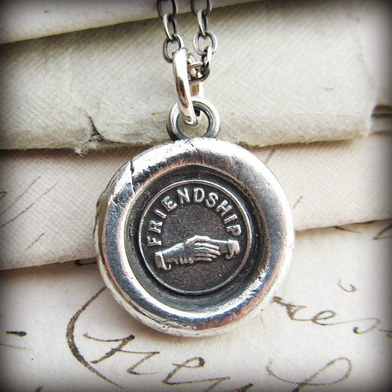 Friendship Victorian Wax Seal Necklace - Hands Clasped in Friendship - Shannon Westmeyer Jewelry - 1