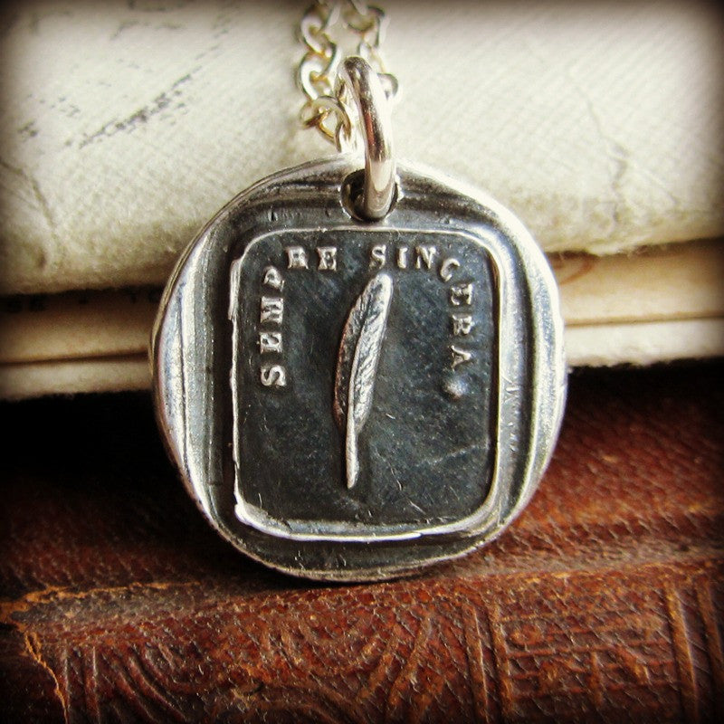 Feather Wax Seal Necklace - Always Sincere