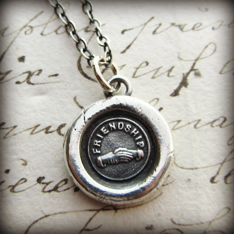 Friendship Victorian Wax Seal Necklace - Hands Clasped in Friendship - Shannon Westmeyer Jewelry - 2