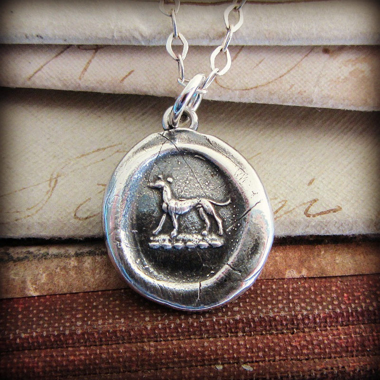 Greyhound Wax Seal Necklace with silver chain