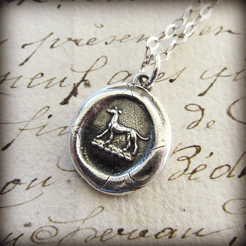Greyhound Wax Seal Necklace - Shannon Westmeyer Jewelry - 2