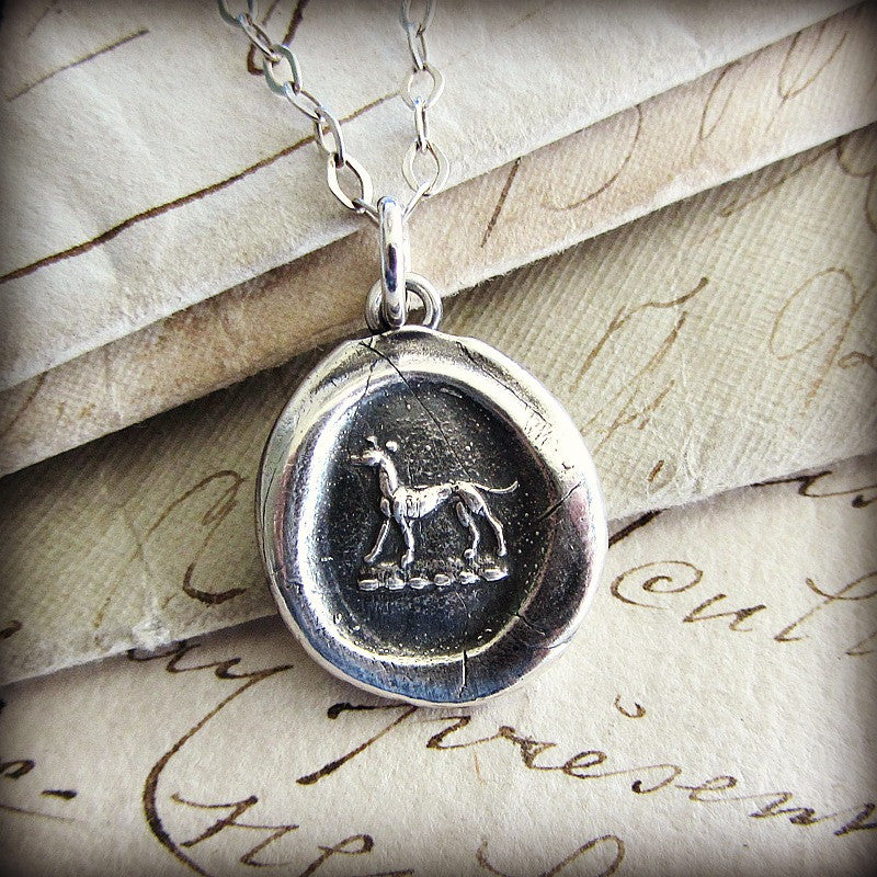 Greyhound Wax Seal Necklace - Shannon Westmeyer Jewelry - 3