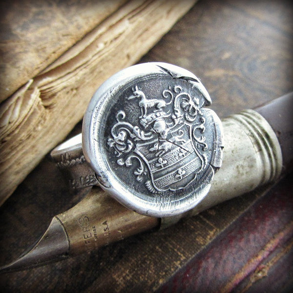 Greyhound Wax Seal Ring - Courage, Vigilance, Nobility, Loyalty and Swiftness - Shannon Westmeyer Jewelry - 1