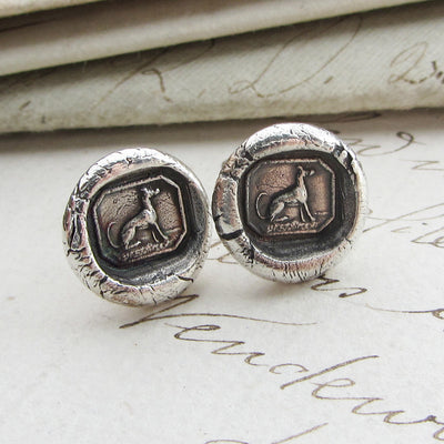 Greyhound Wax Seal Stud Earrings - Shannon Westmeyer Jewelry - 2