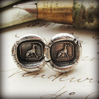 Greyhound Wax Seal Stud Earrings - Shannon Westmeyer Jewelry - 3