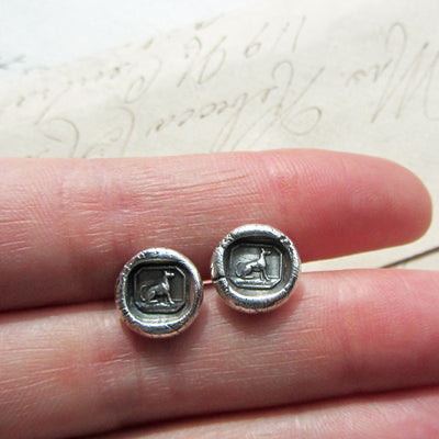 Greyhound Wax Seal Stud Earrings - Shannon Westmeyer Jewelry - 4