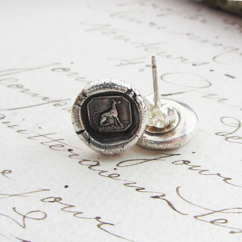 Greyhound Wax Seal Stud Earrings - Shannon Westmeyer Jewelry - 5