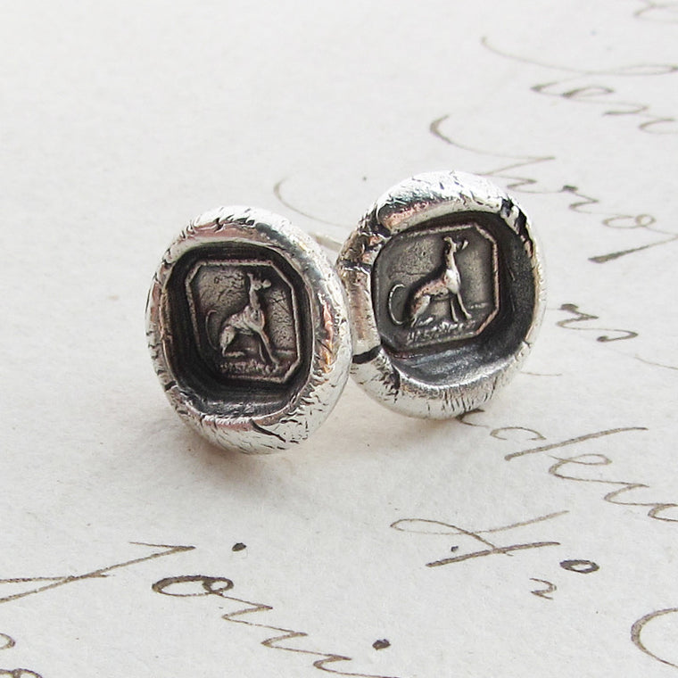 Greyhound Wax Seal Stud Earrings - Shannon Westmeyer Jewelry - 1