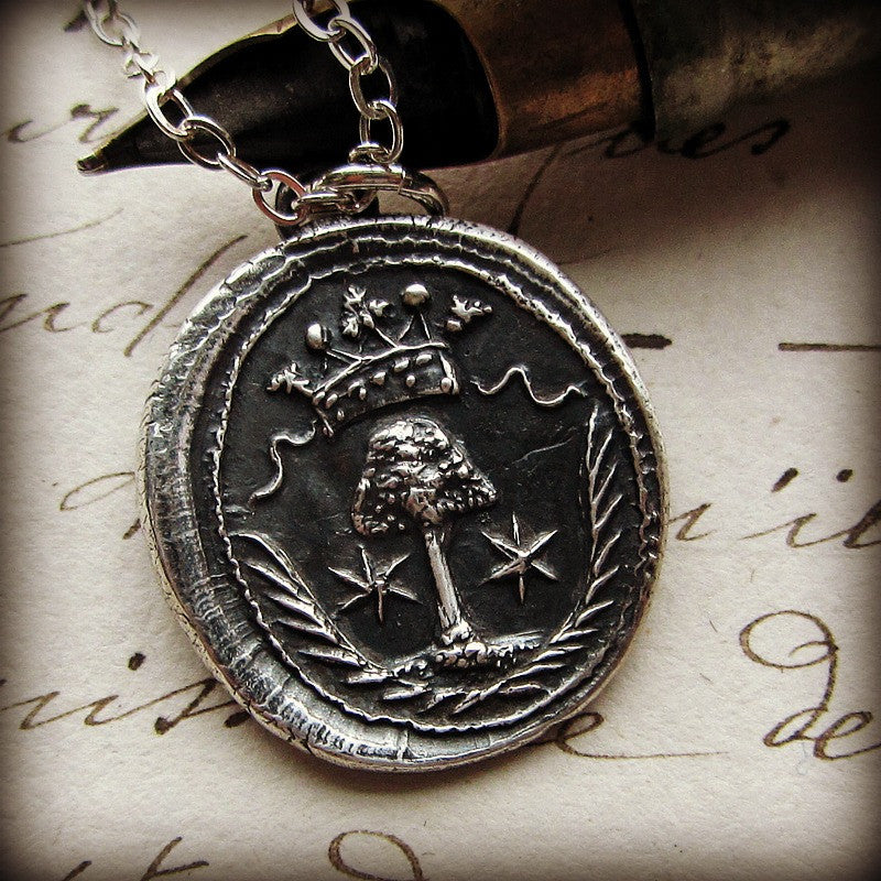 Guardian Family Tree wax seal pendant.