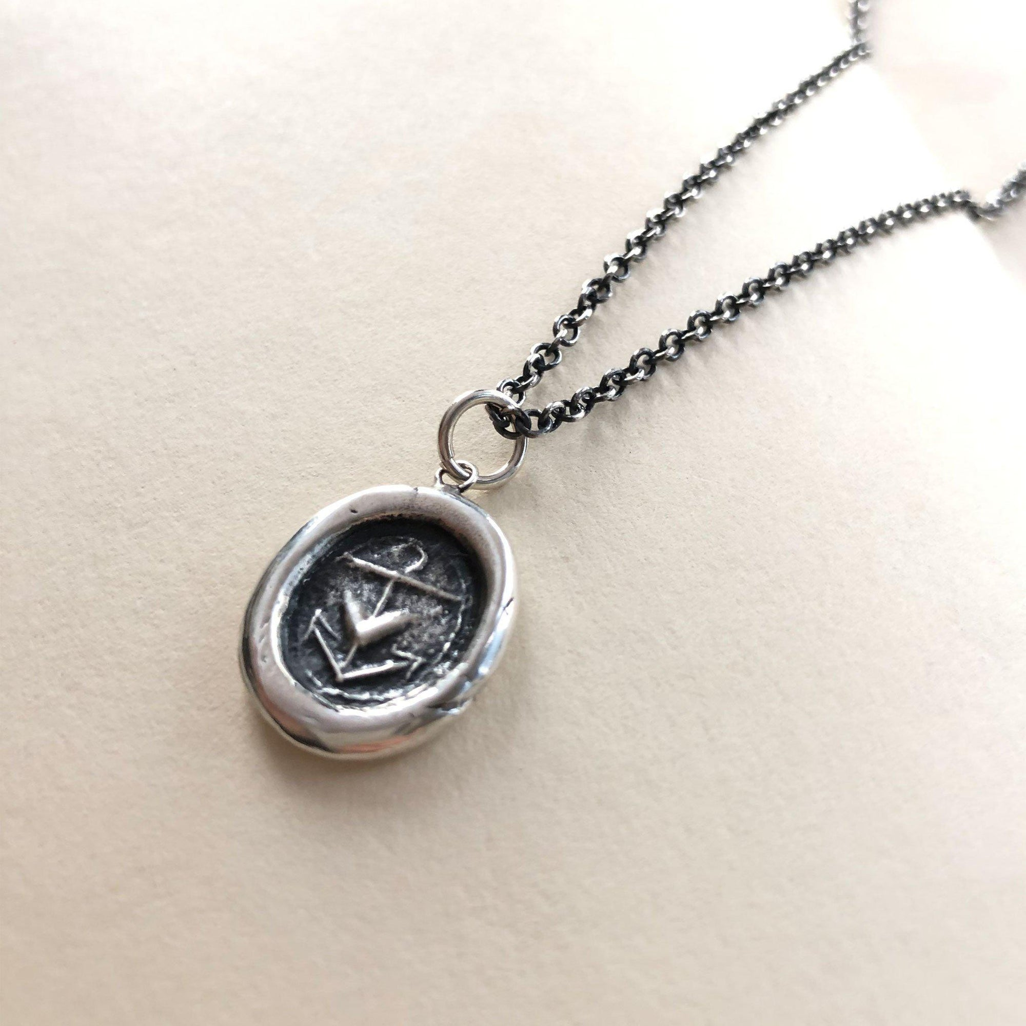 Anchor & Heart Silver Wax Seal Charm - Hope & Love - circa 1700's found on the banks of the Thames River, London