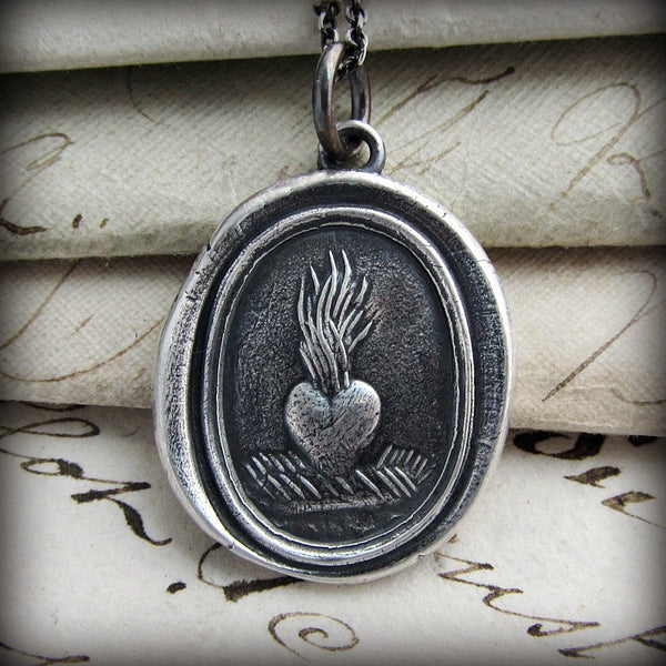 Our ardent love heart wax seal necklace.