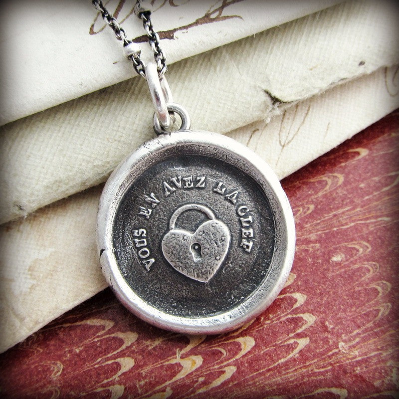 Heart Padlock Wax Seal Charm - You Hold the Key to my Heart