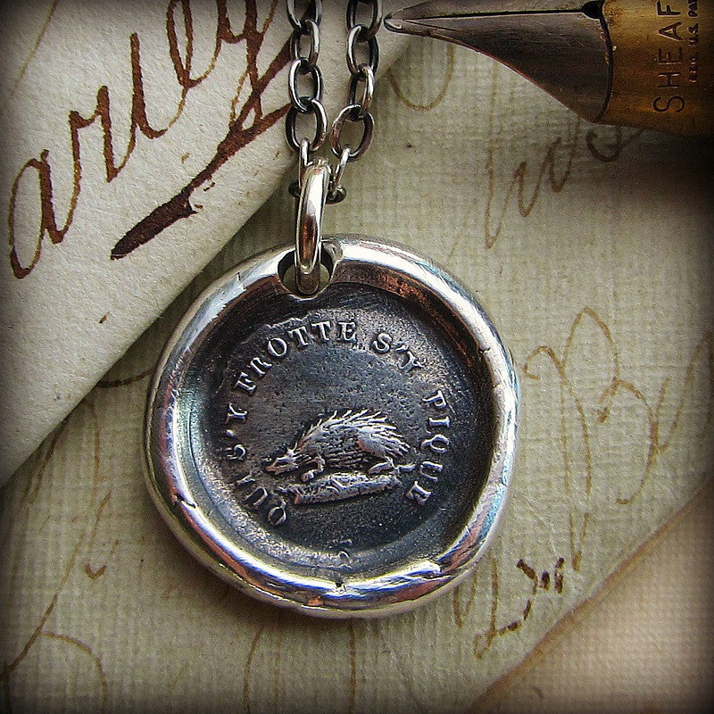 Don't Rub Me the Wrong Way Wax Seal Charm- Hedgehog