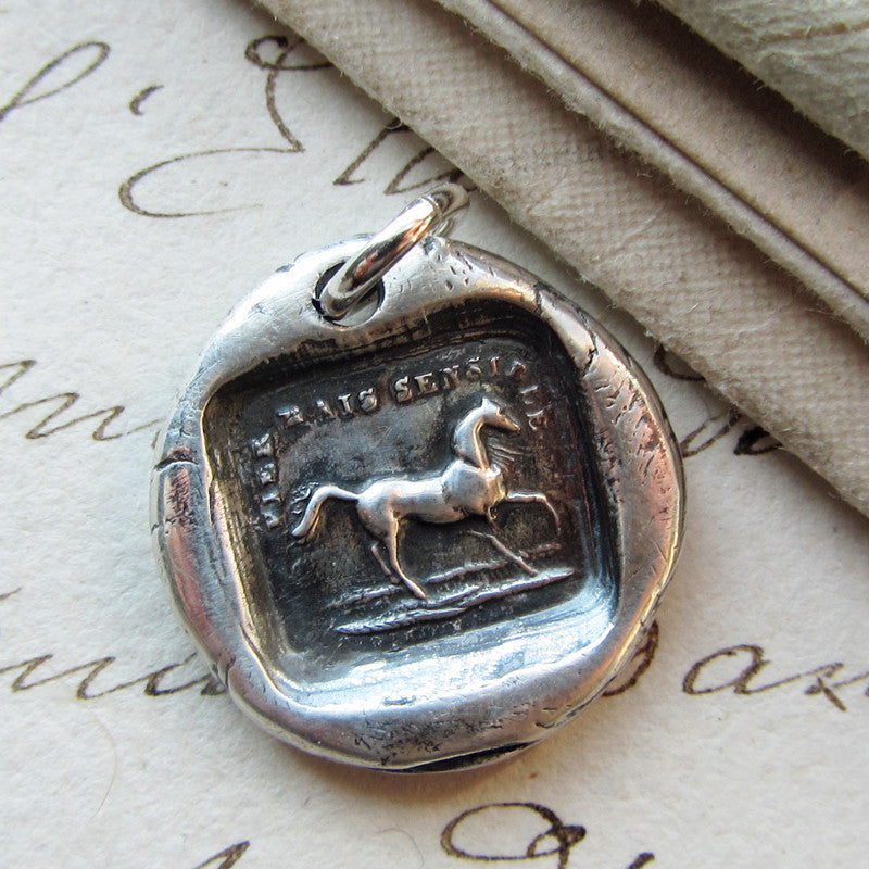 High Spirited But Sensible horse wax seal pendant.