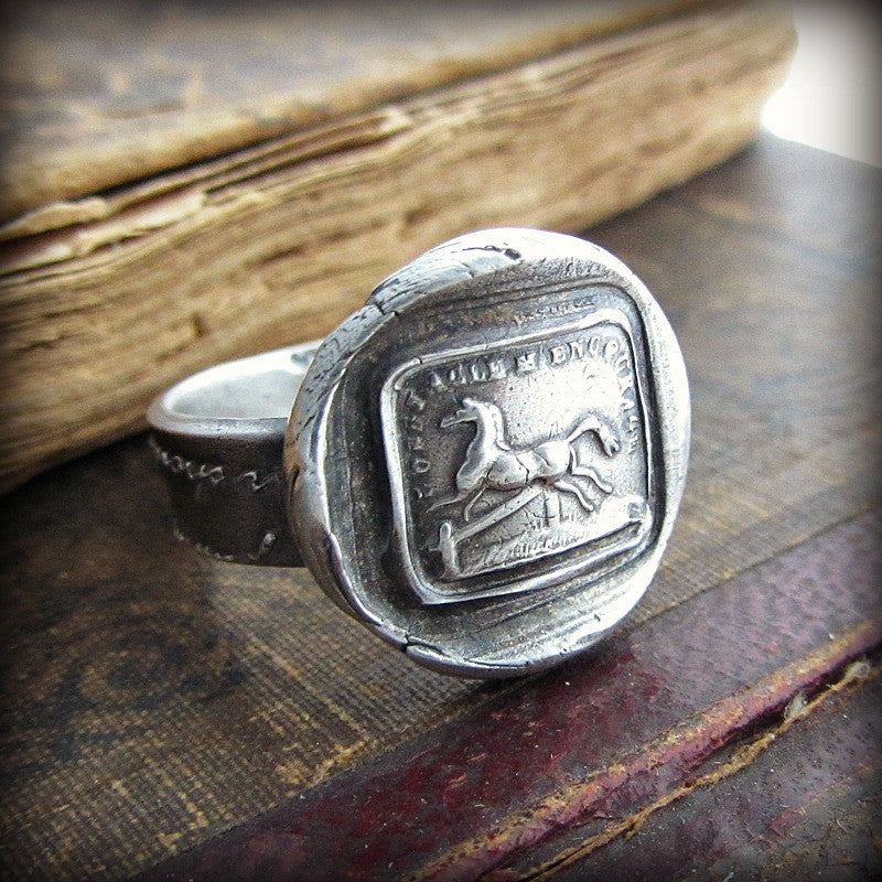 Horse Wax Seal Ring - I'm Encouraged By Obstacles