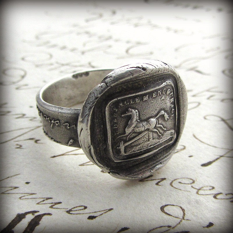 Horse Wax Seal Ring on old english script.