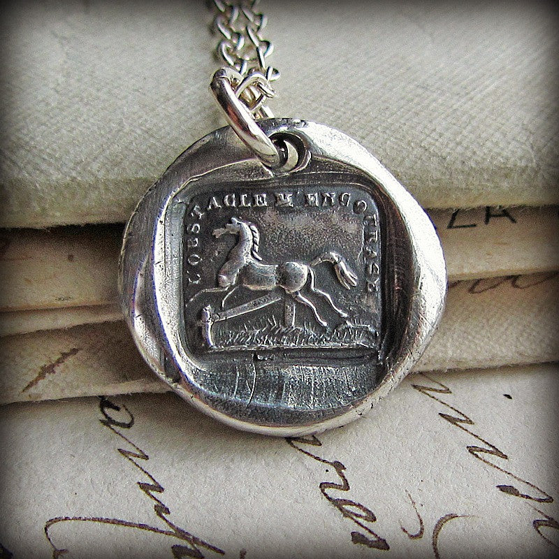 Horse Wax Seal Necklace - I'm Encouraged by Obstacles - Shannon Westmeyer Jewelry - 2