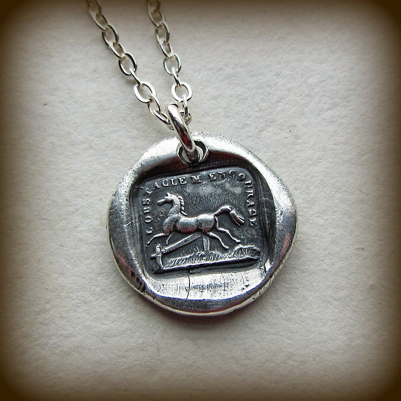 Horse Wax Seal Necklace - I'm Encouraged by Obstacles - Shannon Westmeyer Jewelry - 3