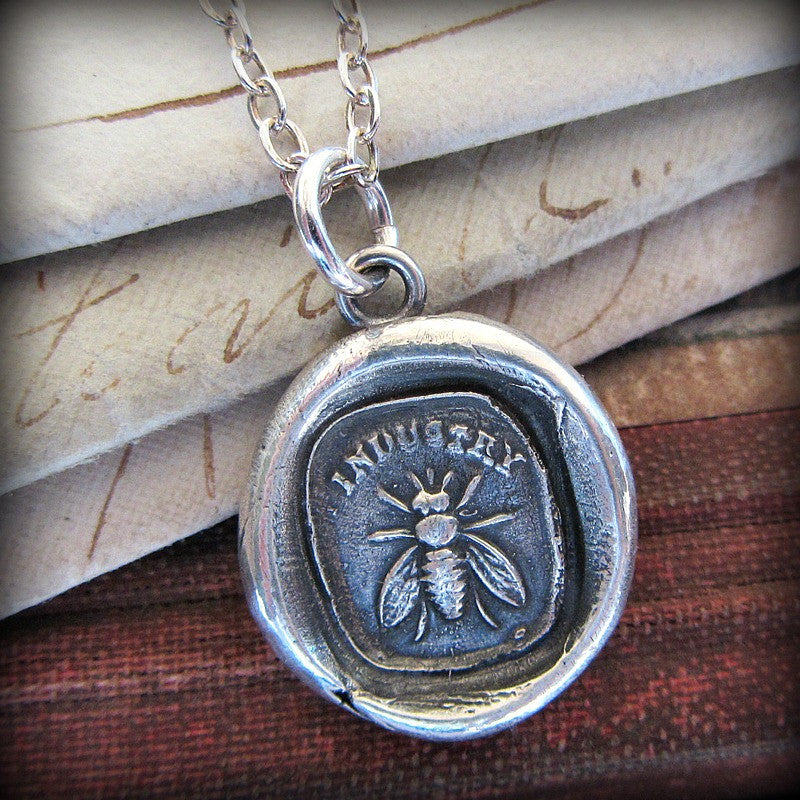 Honey Bee / Industry Wax Seal Necklace- the power of teamwork and collective effort