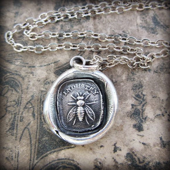 Honey Bee / Industry wax seal necklace.