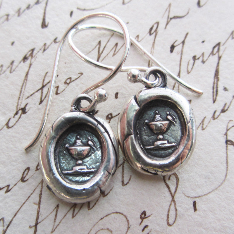 Love Birds Wax Seal Dangle Earrings - Shannon Westmeyer Jewelry - 2