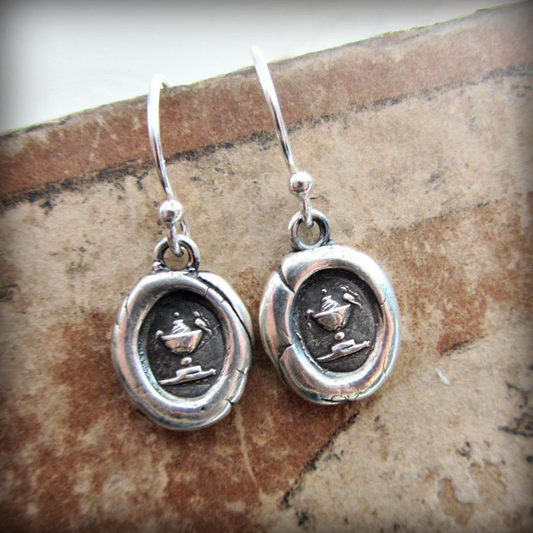 Love Birds Wax Seal Dangle Earrings - Shannon Westmeyer Jewelry - 1