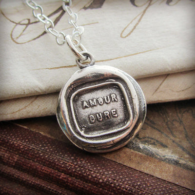 Inspirational Necklace - Love Lasts Wax Seal Necklace