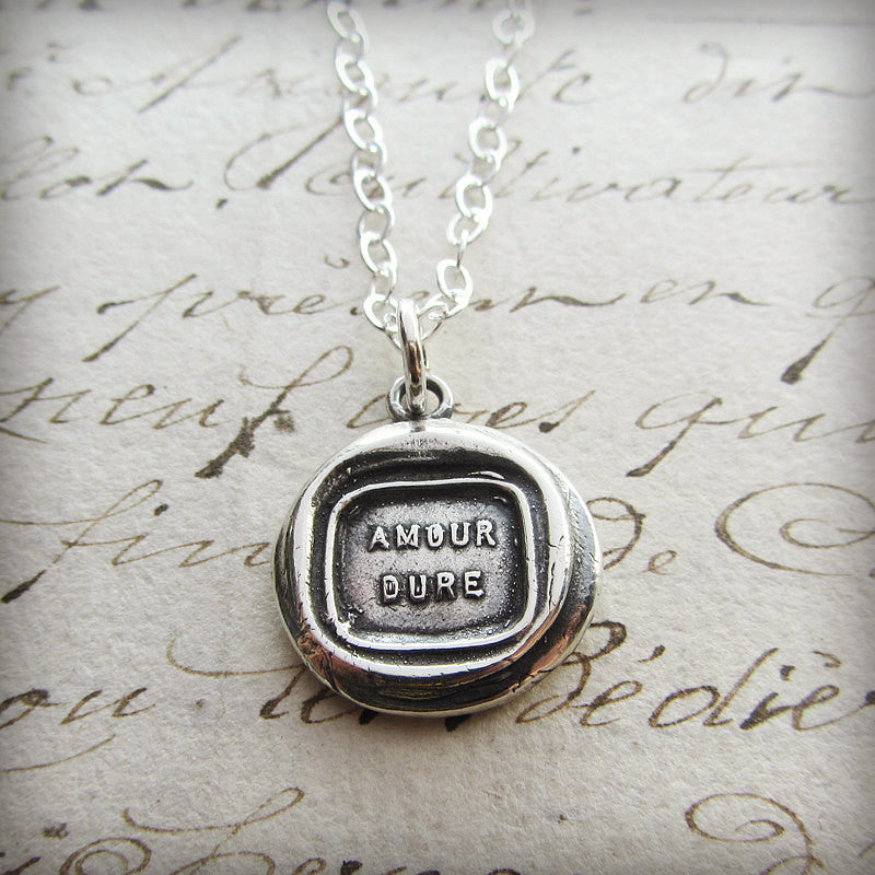 Our Love Will Endure Wax Seal Necklace - French Love Quote