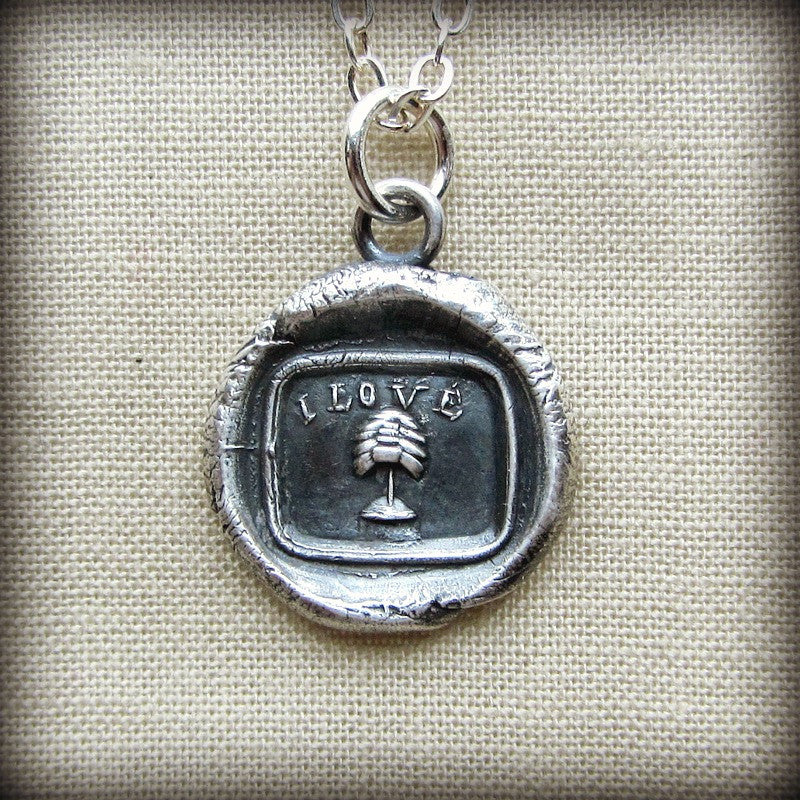 Love You Wax Seal Necklace - Victorian Picture Rebus Charm