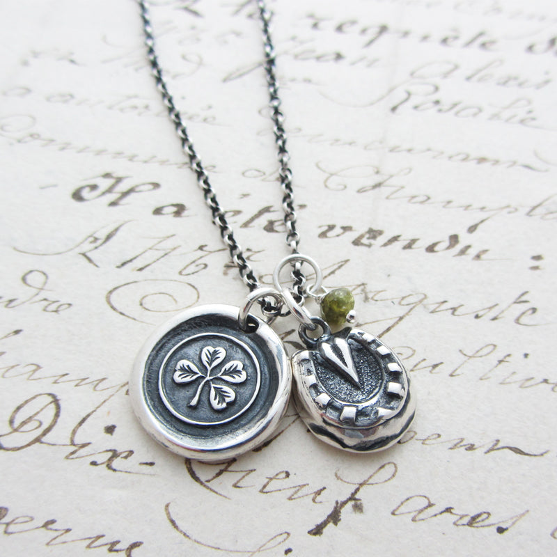 Good Luck Charms Wax Seal Necklace Shamrock, Horseshoe and Green Tourmaline