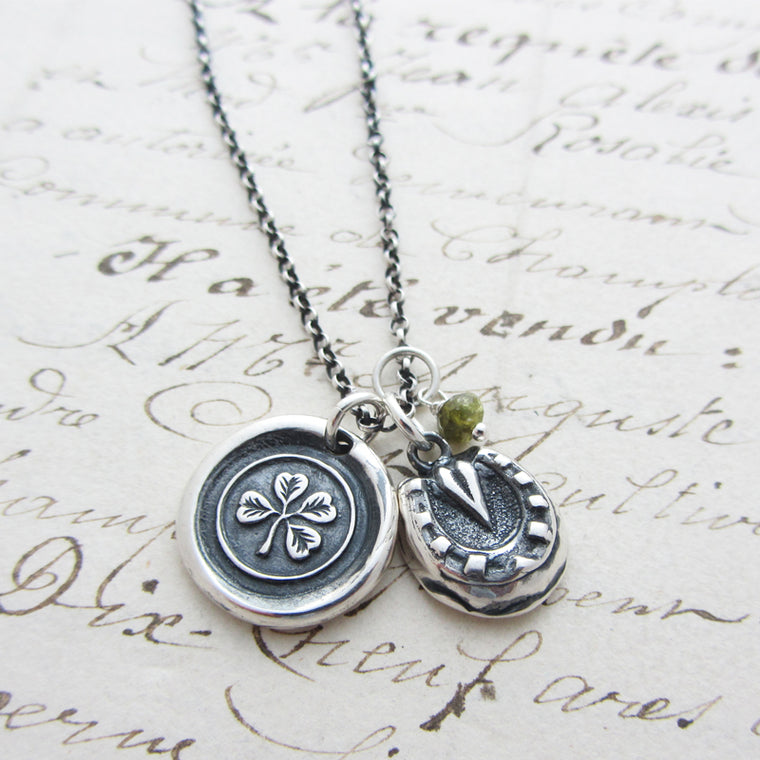 Good Luck Charms Necklace  Shamrock, Horseshoe and Green Tourmaline