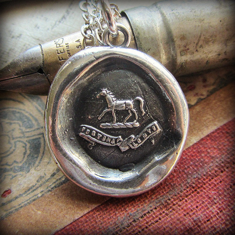 Horse Wax Seal Crest Necklace on antique fine tipped pen.