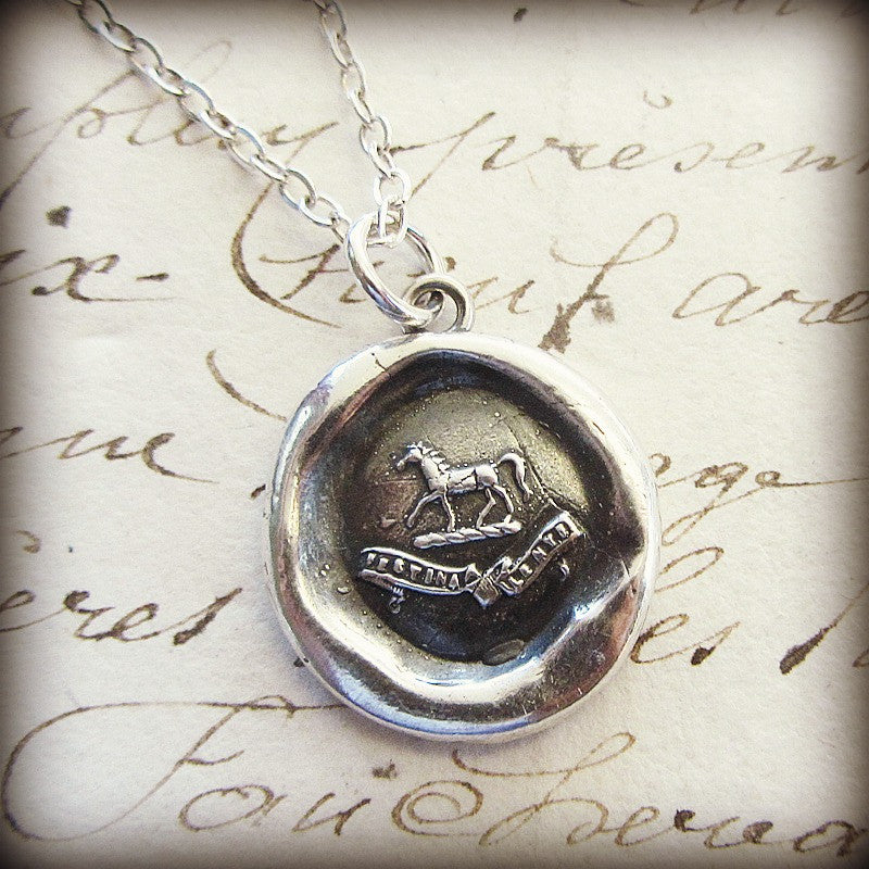 Horse Wax Seal Crest Necklace - Shannon Westmeyer Jewelry - 3
