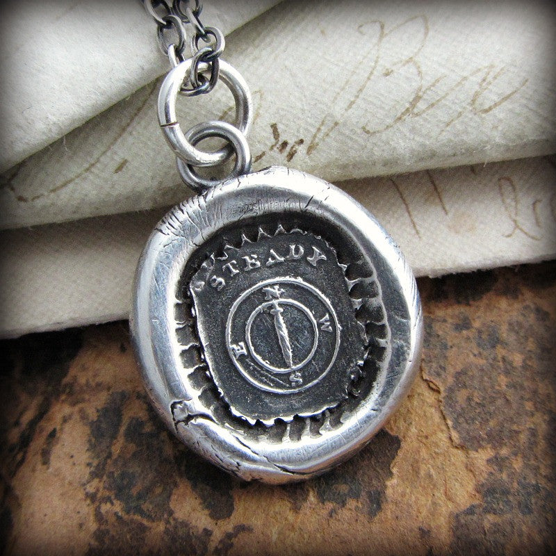 Mariners Compass Wax Seal Necklace - You are the Captain of your Journey