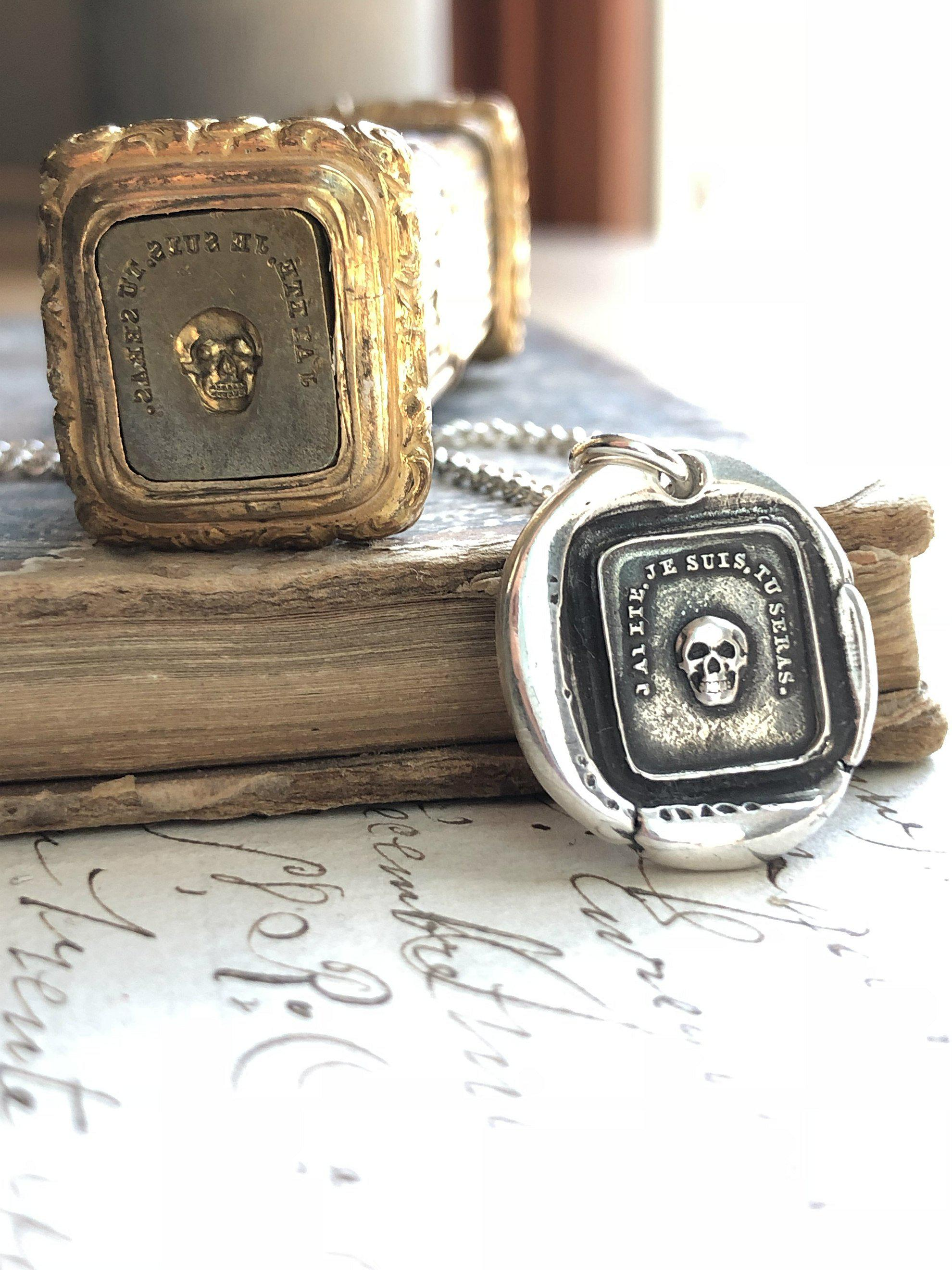 French Skull Wax Seal Necklace-Shannon Westmeyer Jewelry