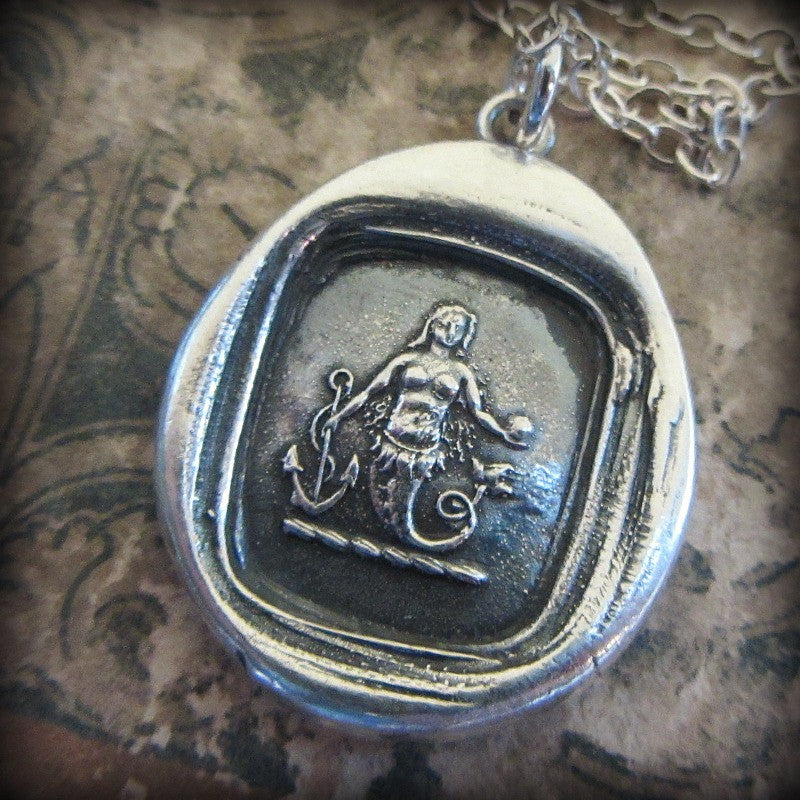 Mermaid Wax Seal Necklace Charm  Eloquence and Enchantment - Shannon Westmeyer Jewelry - 3