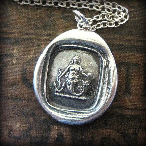 Mermaid Wax Seal Necklace Charm  Eloquence and Enchantment - Shannon Westmeyer Jewelry - 1