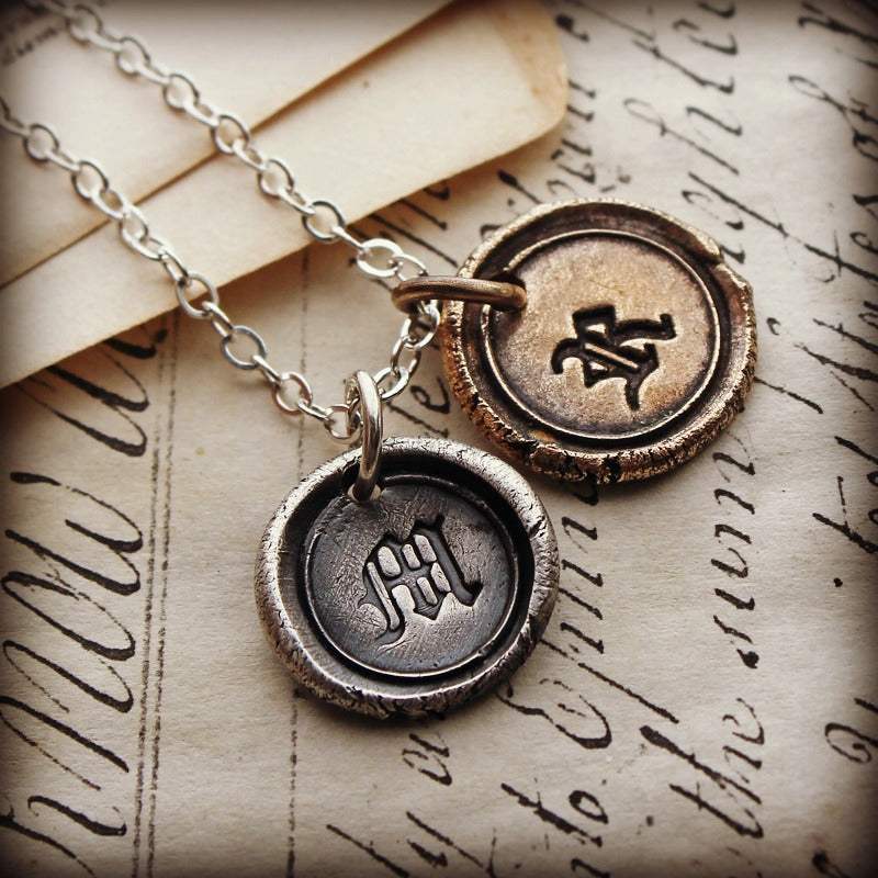 Bronze and Silver Wax Seal Initial Necklace - Mixed Metals - Personalized Wax Seal Necklace - Custom Initials