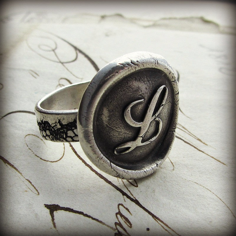 Monogram Wax Seal Silver Ring