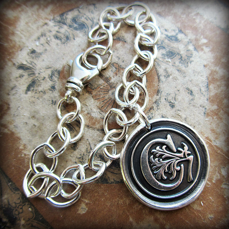 Monogram Initial Wax Seal Medallion Bracelet