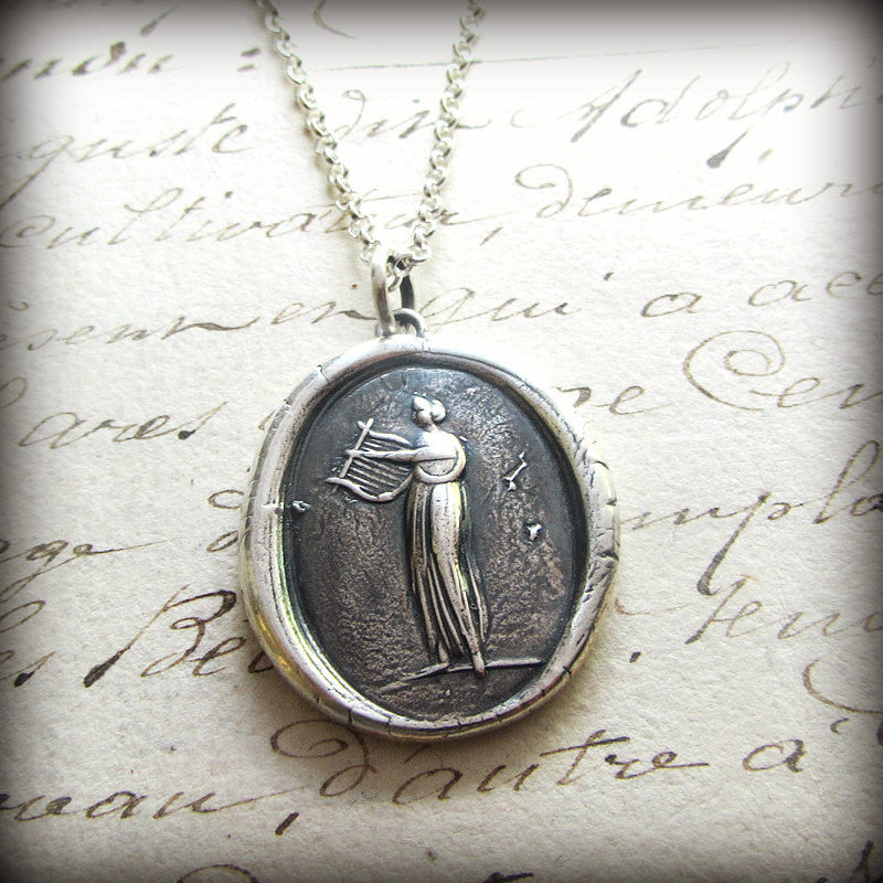 Muse of Music Wax Seal Necklace  Greek Goddess Euterpe - Shannon Westmeyer Jewelry - 3